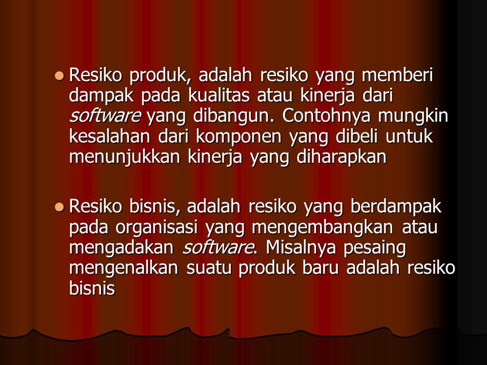 Resiko produk, adalah resiko yang memberi dampak pada kualitas atau kinerja dari software yang dibangun. Contohnya mungkin kesalahan dari komponen yan