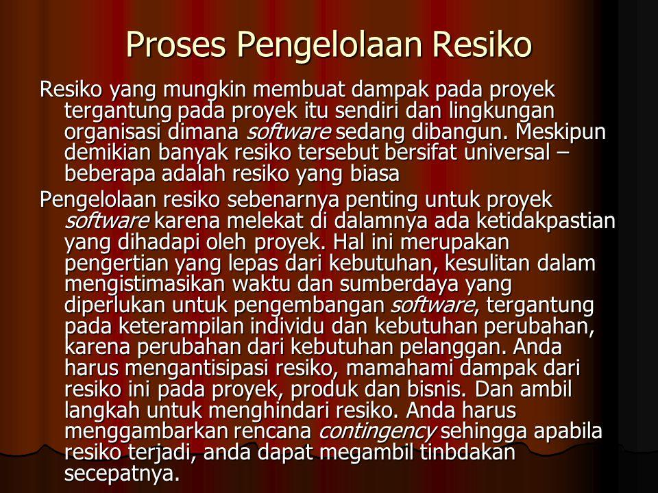 Proses Pengelolaan Resiko Resiko yang mungkin membuat dampak pada proyek tergantung pada proyek itu sendiri dan lingkungan organisasi dimana software