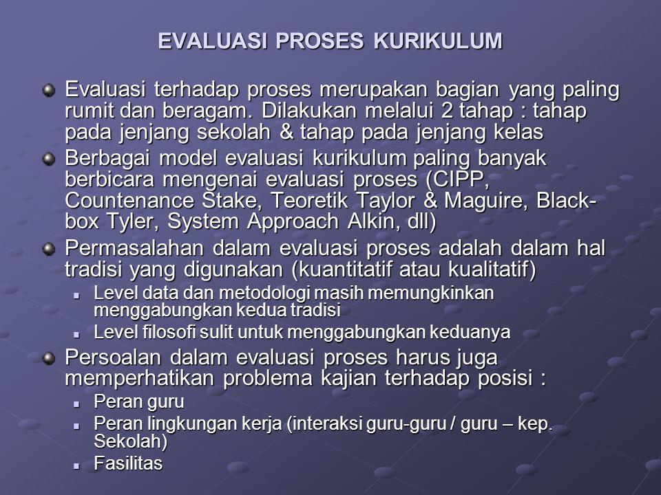 EVALUASI PROSES KURIKULUM Evaluasi terhadap proses merupakan bagian yang paling rumit dan beragam.