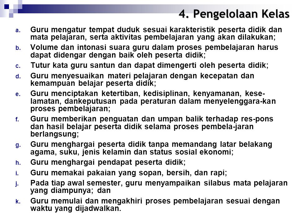 4. Pengelolaan Kelas a.