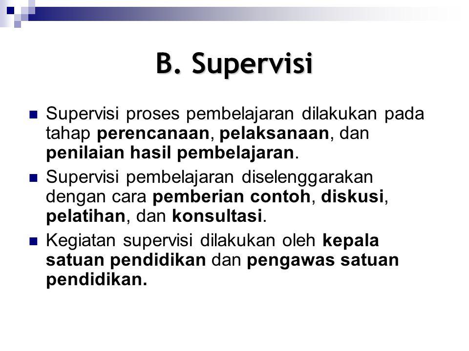 B. Supervisi Supervisi proses pembelajaran dilakukan pada tahap perencanaan, pelaksanaan, dan penilaian hasil pembelajaran. Supervisi pembelajaran dis
