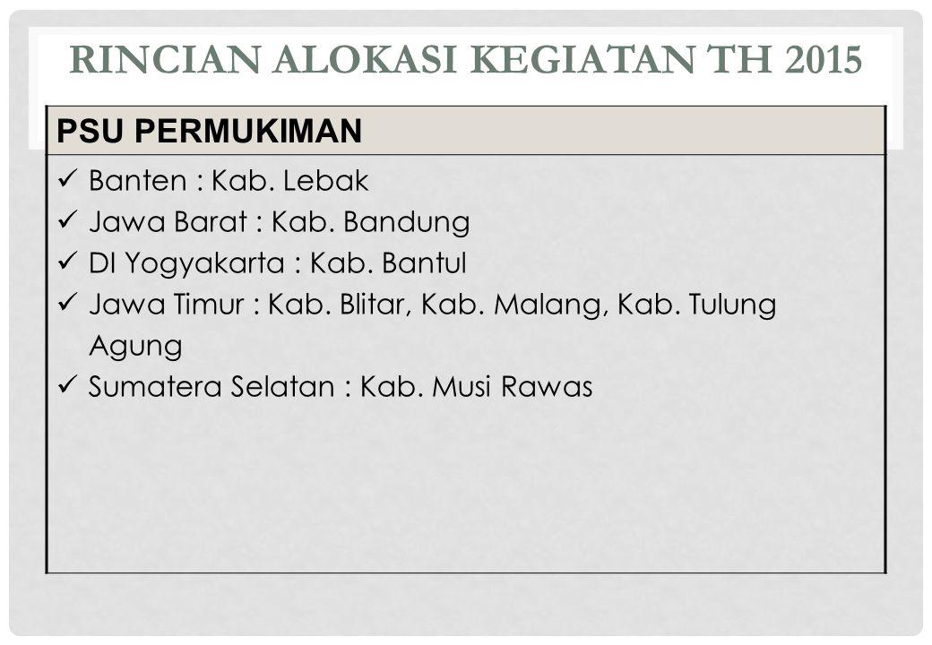 RINCIAN ALOKASI KEGIATAN TH 2015 PSU PERMUKIMAN Banten : Kab. Lebak Jawa Barat : Kab. Bandung DI Yogyakarta : Kab. Bantul Jawa Timur : Kab. Blitar, Ka