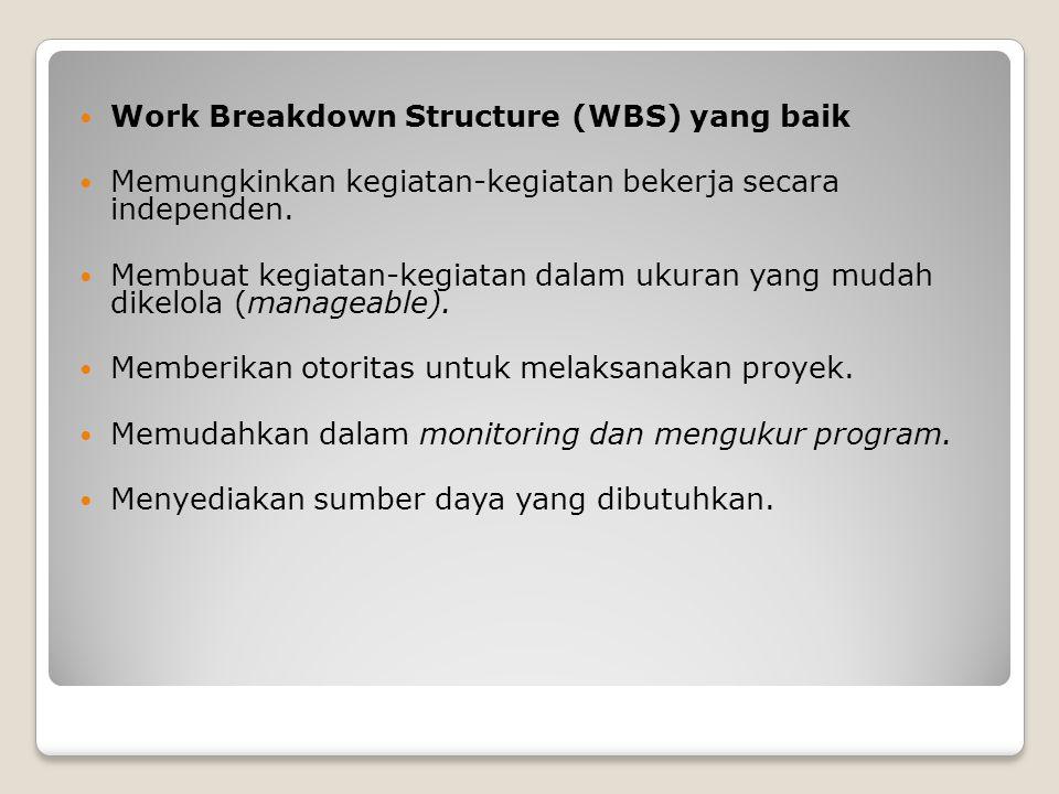 Work Breakdown Structure (WBS) yang baik Memungkinkan kegiatan-kegiatan bekerja secara independen. Membuat kegiatan-kegiatan dalam ukuran yang mudah d