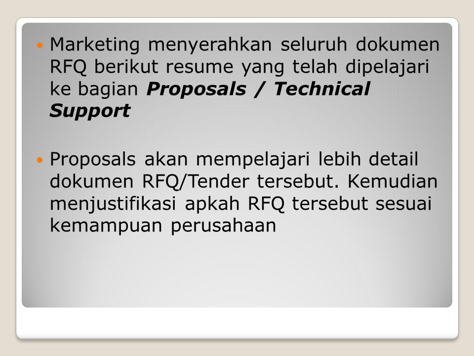 Marketing menyerahkan seluruh dokumen RFQ berikut resume yang telah dipelajari ke bagian Proposals / Technical Support Proposals akan mempelajari lebi