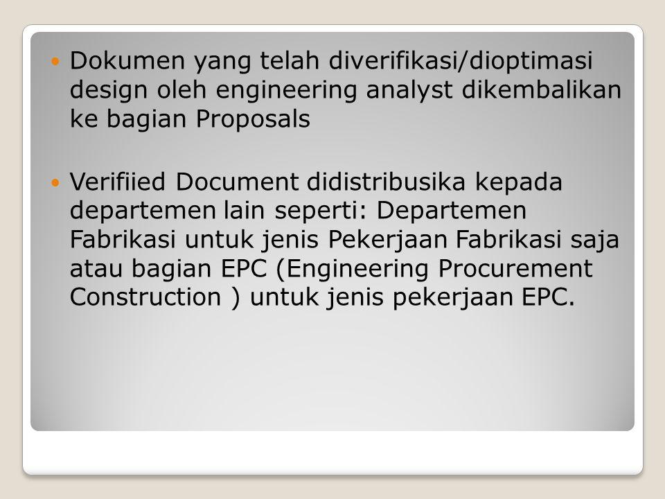 Dokumen yang telah diverifikasi/dioptimasi design oleh engineering analyst dikembalikan ke bagian Proposals Verifiied Document didistribusika kepada d