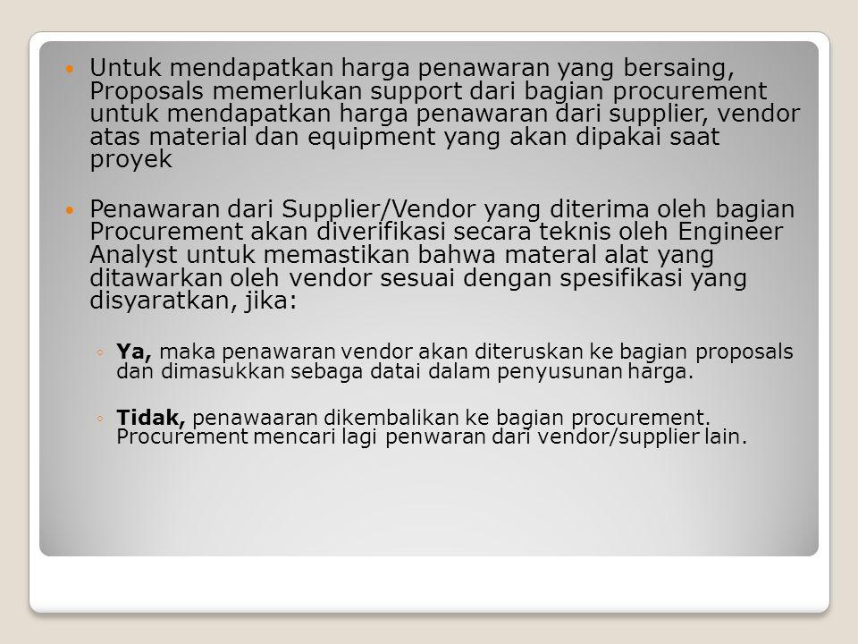 Untuk mendapatkan harga penawaran yang bersaing, Proposals memerlukan support dari bagian procurement untuk mendapatkan harga penawaran dari supplier,
