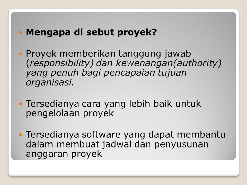 Mengapa di sebut proyek? Proyek memberikan tanggung jawab (responsibility) dan kewenangan(authority) yang penuh bagi pencapaian tujuan organisasi. Ter