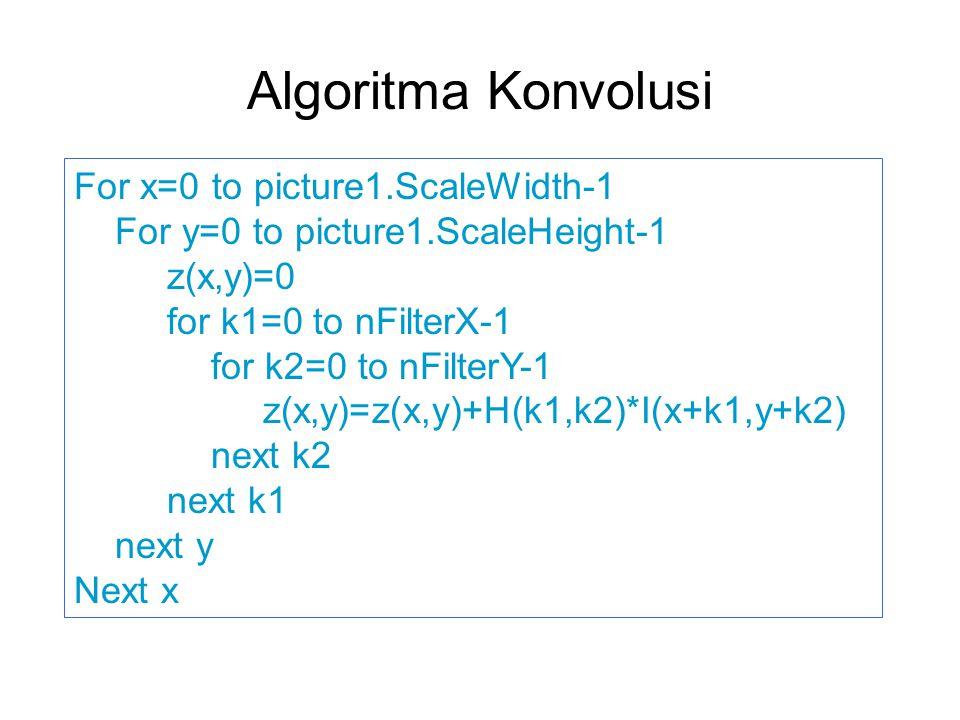 Algoritma Konvolusi For x=0 to picture1.ScaleWidth-1 For y=0 to picture1.ScaleHeight-1 z(x,y)=0 for k1=0 to nFilterX-1 for k2=0 to nFilterY-1 z(x,y)=z(x,y)+H(k1,k2)*I(x+k1,y+k2) next k2 next k1 next y Next x