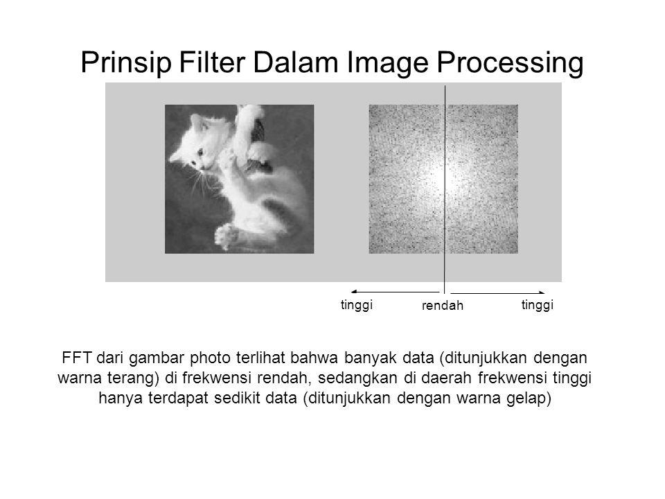 Prinsip Filter Dalam Image Processing rendah tinggi FFT dari gambar photo terlihat bahwa banyak data (ditunjukkan dengan warna terang) di frekwensi rendah, sedangkan di daerah frekwensi tinggi hanya terdapat sedikit data (ditunjukkan dengan warna gelap)