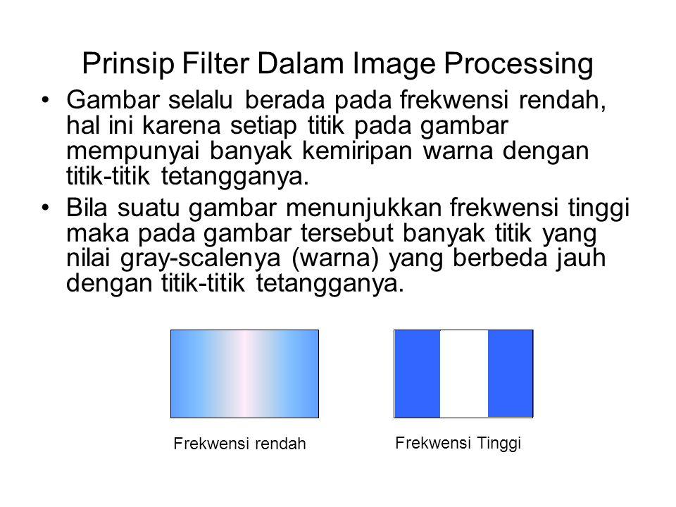 Prinsip Filter Dalam Image Processing Untuk membuang titik yang berbeda dengan titik-titik tetangganya (proses reduksi noise) maka dilakukan Low-Pass Filter (LPF), suatu bentuk filter yang mengambil data pada frekwensi rendah dan membuang data pada frekwensi tinggi Untuk mempertahankan titik yang berbeda dengan titik- titik tetangganya (proses deteksi tepi) maka dilakukan High-Pass Filter (HPF), suatu bentuk filter yang mengambil data pada frekwensi tinggi dan membuang data pada frekwensi rendah.