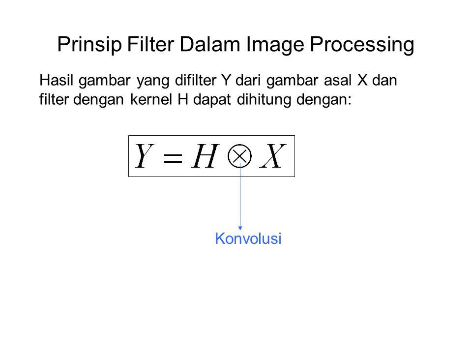 Prinsip Filter Dalam Image Processing Hasil gambar yang difilter Y dari gambar asal X dan filter dengan kernel H dapat dihitung dengan: Konvolusi