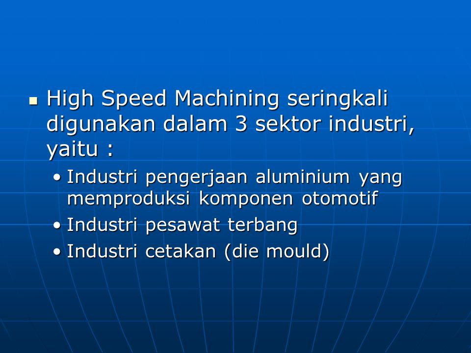 High Speed Machining seringkali digunakan dalam 3 sektor industri, yaitu : High Speed Machining seringkali digunakan dalam 3 sektor industri, yaitu :