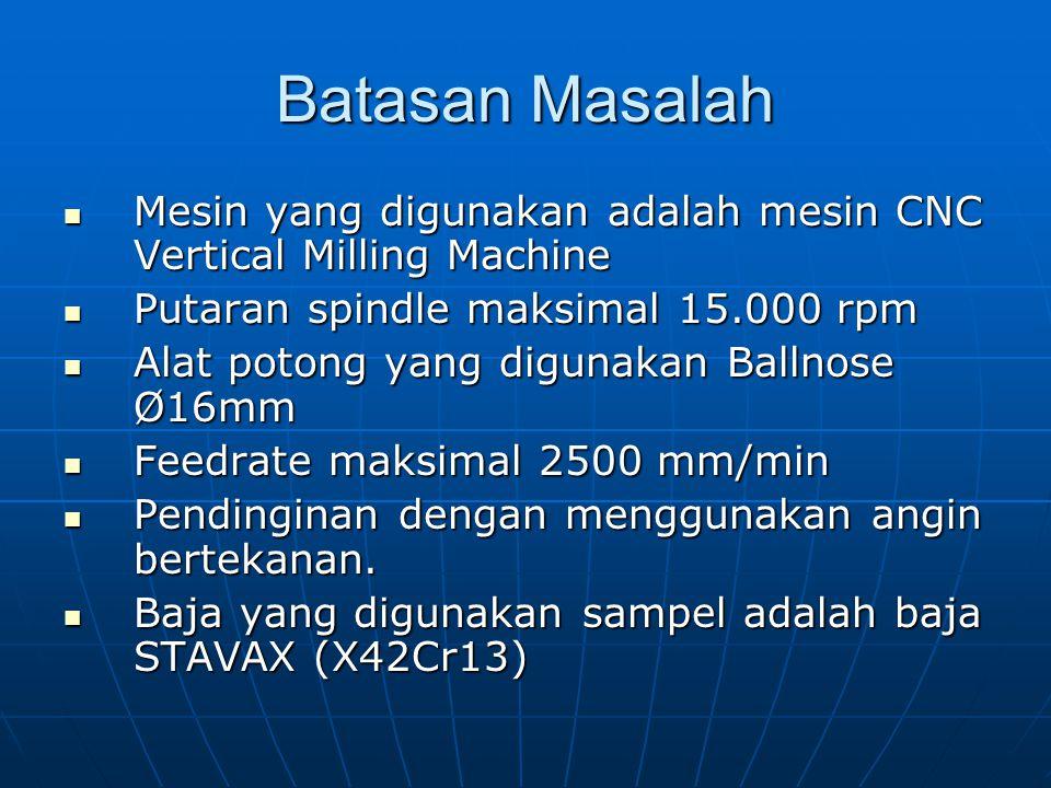 Batasan Masalah Mesin yang digunakan adalah mesin CNC Vertical Milling Machine Mesin yang digunakan adalah mesin CNC Vertical Milling Machine Putaran