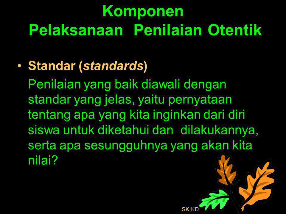 Komponen Pelaksanaan Penilaian Otentik Standar (standards) Penilaian yang baik diawali dengan standar yang jelas, yaitu pernyataan tentang apa yang ki