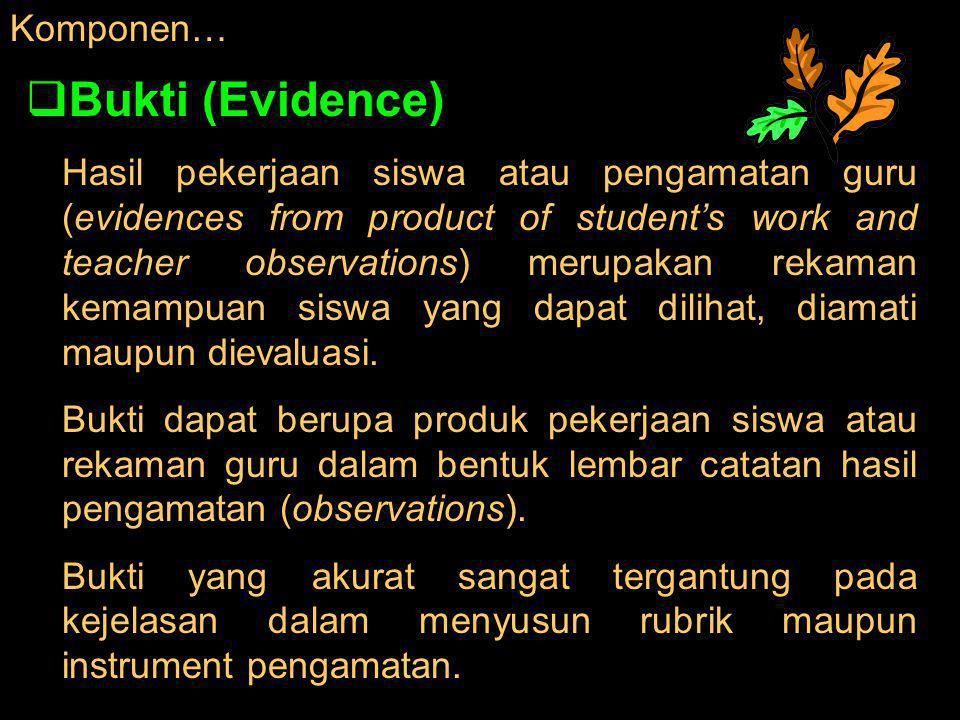 Komponen…  Bukti (Evidence) Hasil pekerjaan siswa atau pengamatan guru (evidences from product of student's work and teacher observations) merupakan