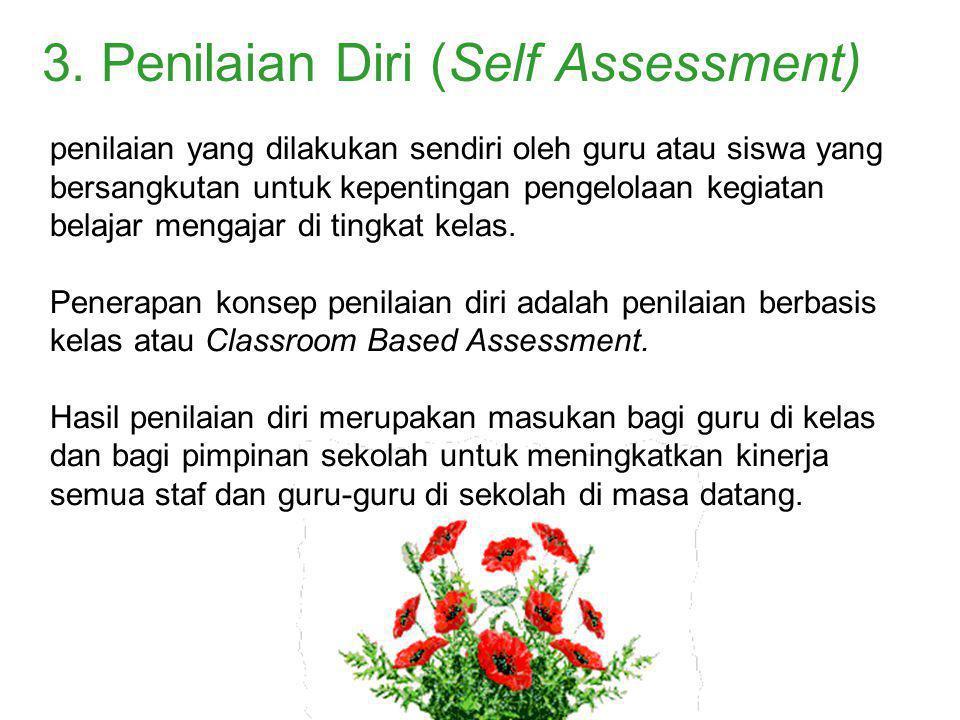 penilaian yang dilakukan sendiri oleh guru atau siswa yang bersangkutan untuk kepentingan pengelolaan kegiatan belajar mengajar di tingkat kelas. Pene