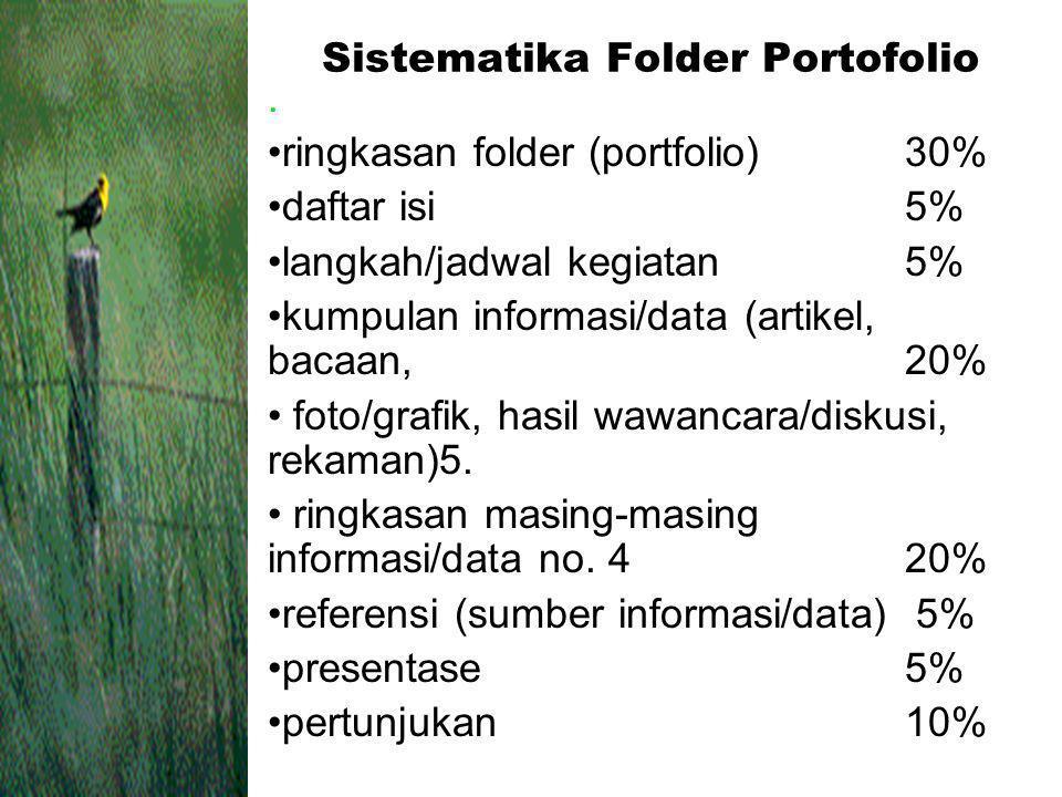 Sistematika Folder Portofolio. ringkasan folder (portfolio)30% daftar isi5% langkah/jadwal kegiatan5% kumpulan informasi/data (artikel, bacaan,20% fot