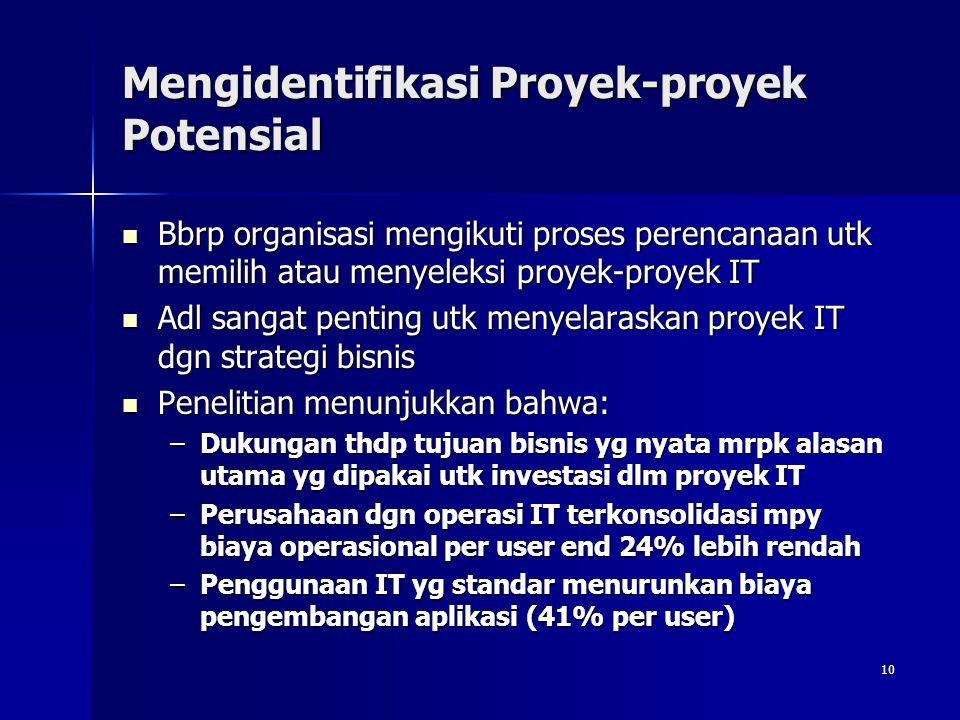 10 Mengidentifikasi Proyek-proyek Potensial Bbrp organisasi mengikuti proses perencanaan utk memilih atau menyeleksi proyek-proyek IT Bbrp organisasi