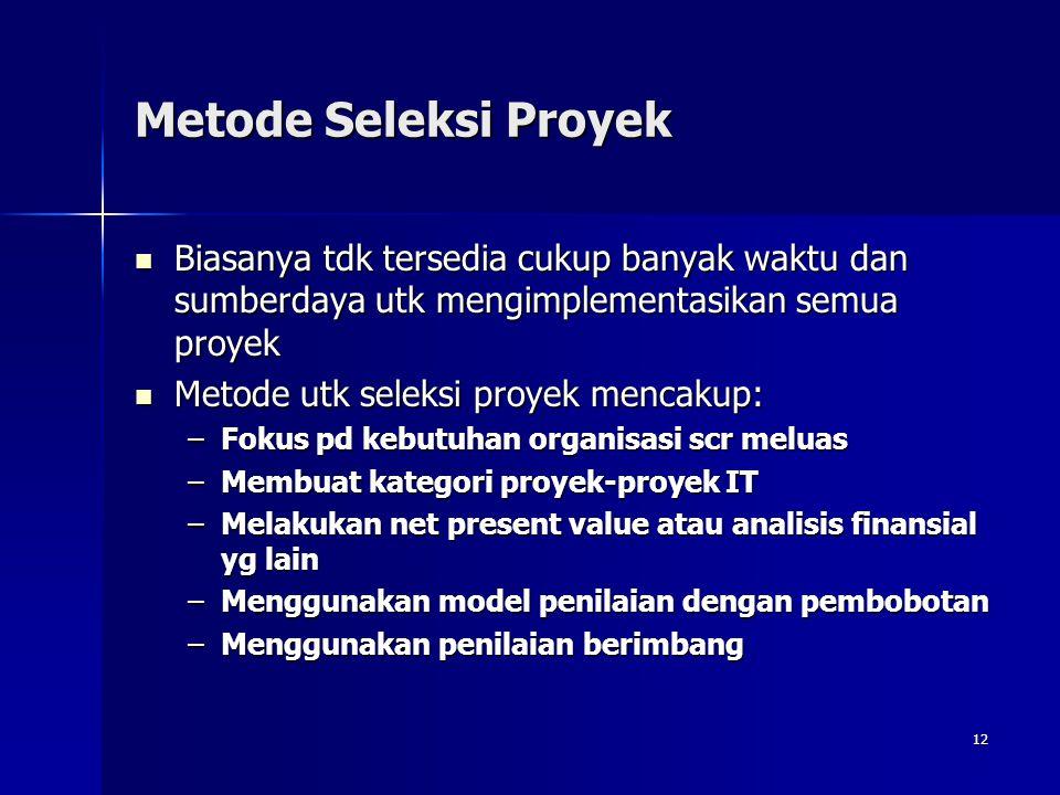 12 Metode Seleksi Proyek Biasanya tdk tersedia cukup banyak waktu dan sumberdaya utk mengimplementasikan semua proyek Biasanya tdk tersedia cukup bany