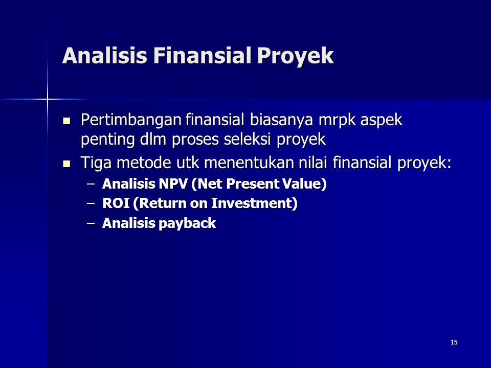 15 Analisis Finansial Proyek Pertimbangan finansial biasanya mrpk aspek penting dlm proses seleksi proyek Pertimbangan finansial biasanya mrpk aspek p