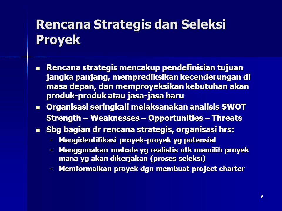 9 Rencana Strategis dan Seleksi Proyek Rencana strategis mencakup pendefinisian tujuan jangka panjang, memprediksikan kecenderungan di masa depan, dan