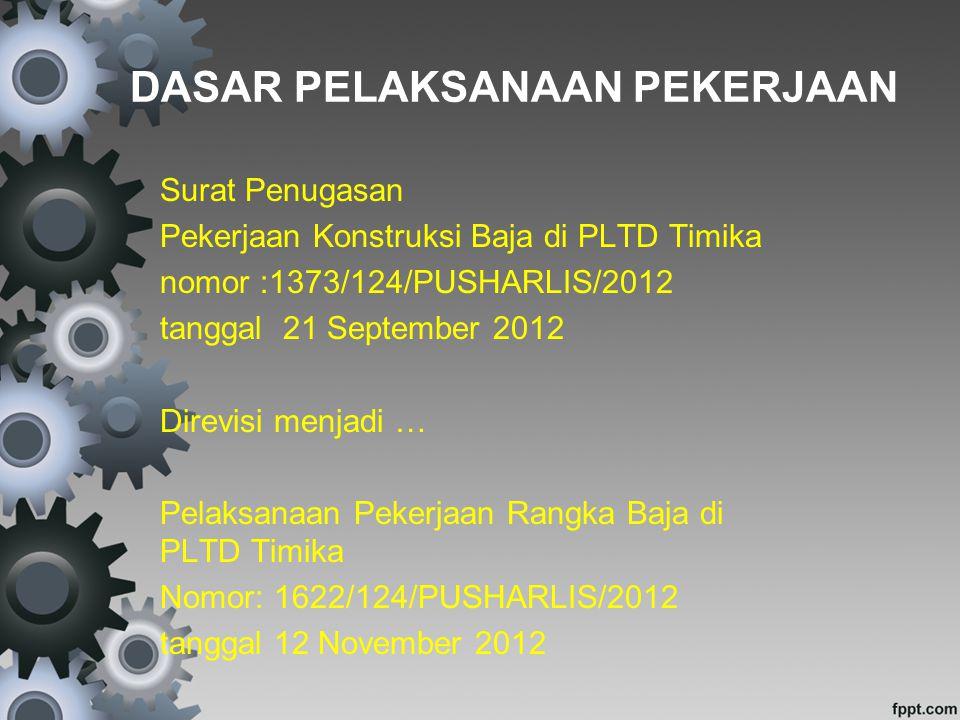 DASAR PELAKSANAAN PEKERJAAN Surat Penugasan Pekerjaan Konstruksi Baja di PLTD Timika nomor :1373/124/PUSHARLIS/2012 tanggal 21 September 2012 Direvisi