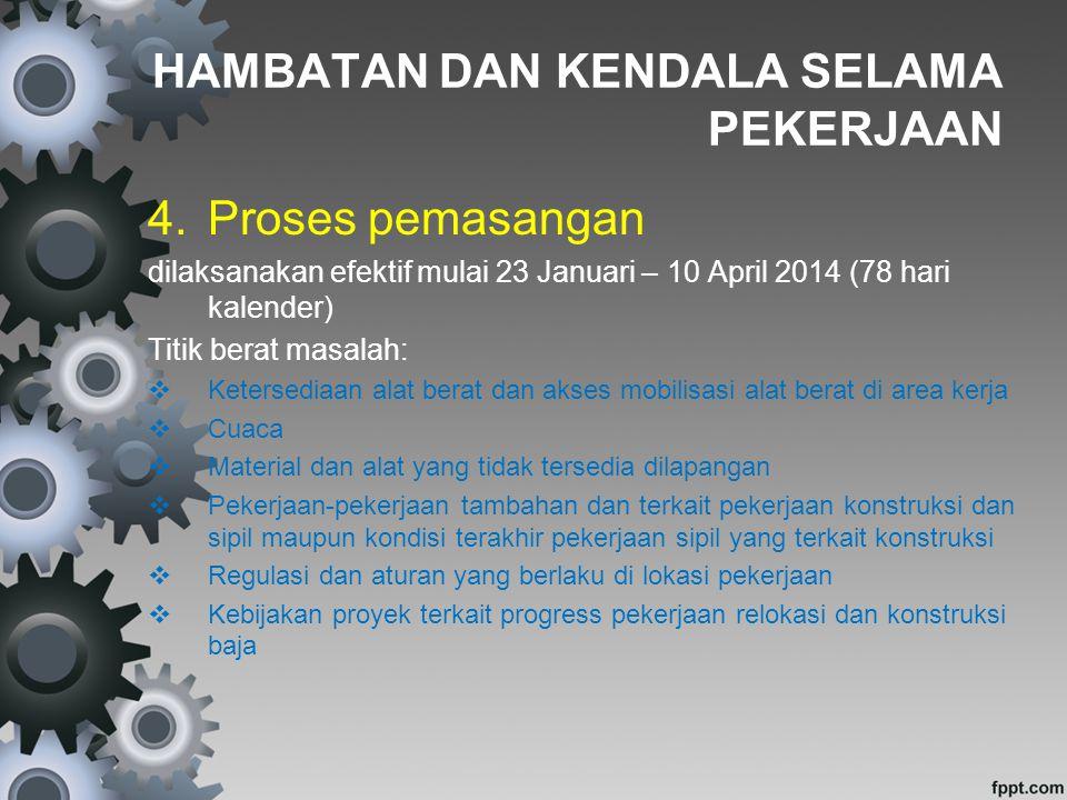 4.Proses pemasangan dilaksanakan efektif mulai 23 Januari – 10 April 2014 (78 hari kalender) Titik berat masalah:  Ketersediaan alat berat dan akses