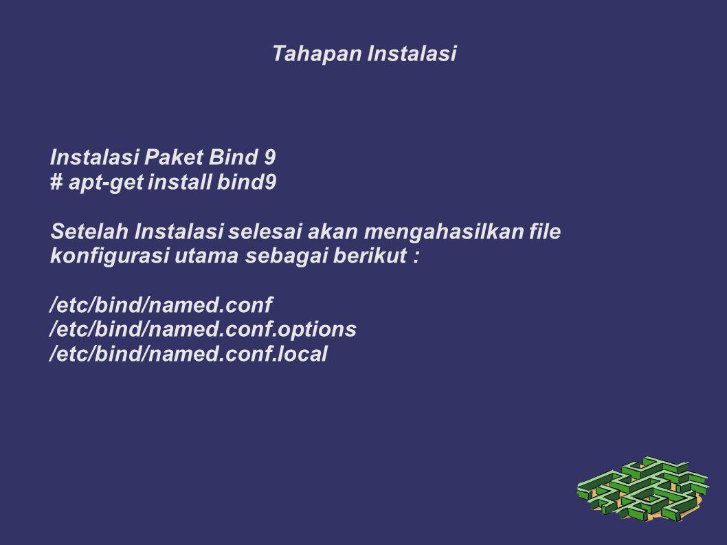 Tahapan Instalasi Instalasi Paket Bind 9 # apt-get install bind9 Setelah Instalasi selesai akan mengahasilkan file konfigurasi utama sebagai berikut : /etc/bind/named.conf /etc/bind/named.conf.options /etc/bind/named.conf.local