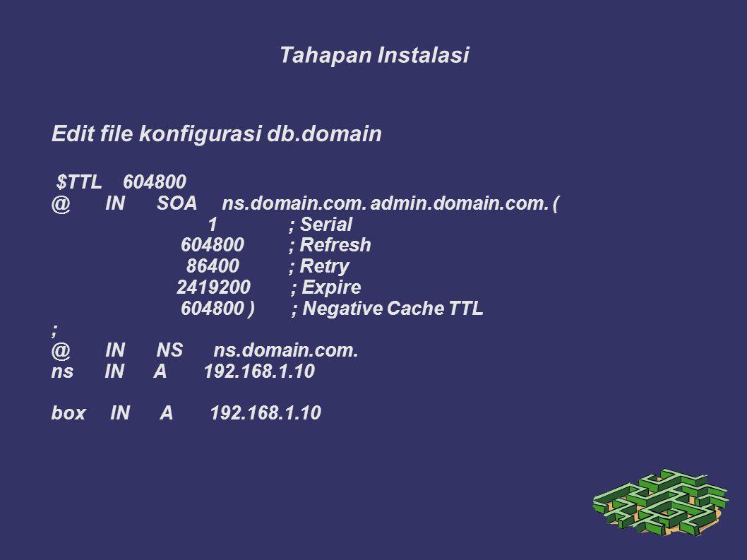 Tahapan Instalasi Edit file konfigurasi db.domain $TTL 604800 @ IN SOA ns.domain.com. admin.domain.com. ( 1; Serial 604800; Refresh 86400; Retry 24192