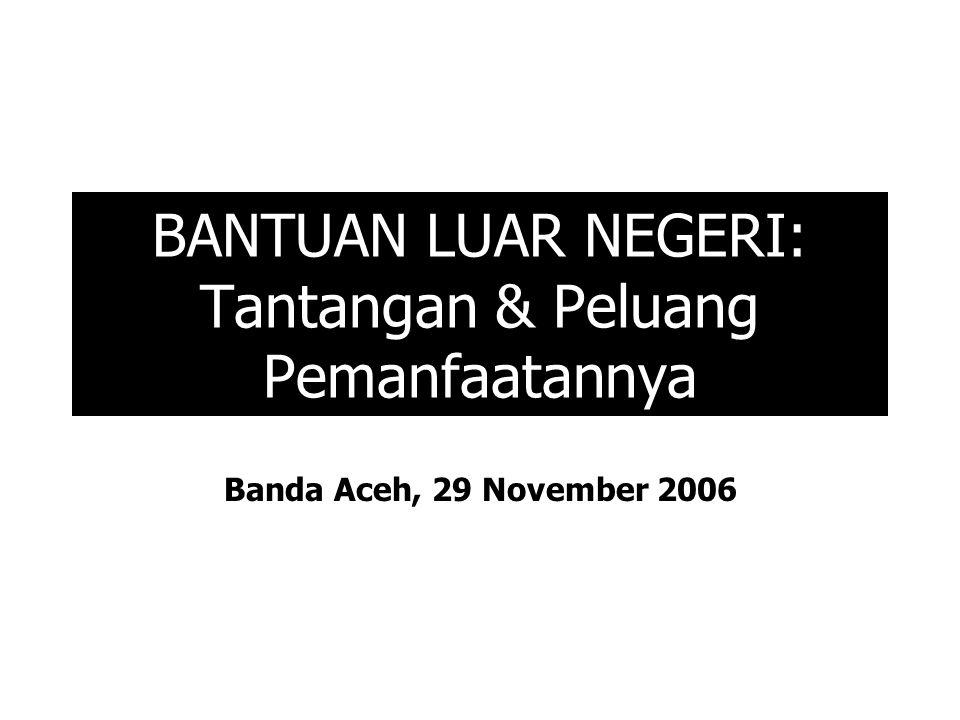 BANTUAN LUAR NEGERI: Tantangan & Peluang Pemanfaatannya Banda Aceh, 29 November 2006