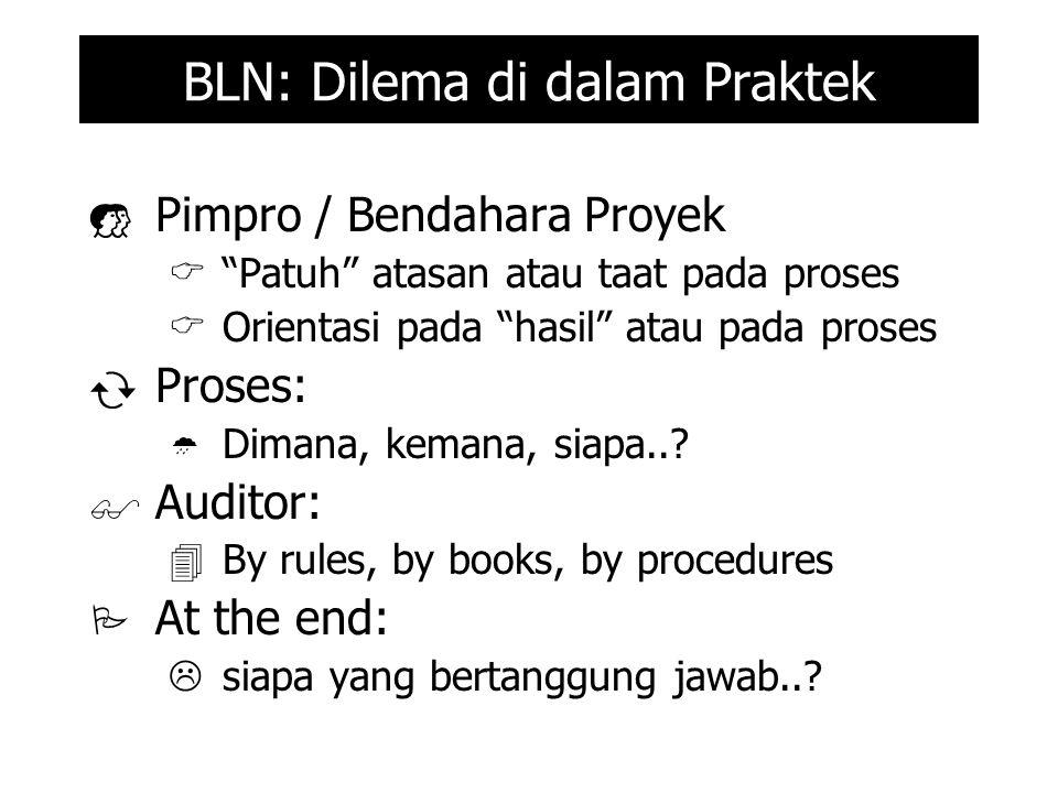 BLN: Dilema di dalam Praktek  Pimpro / Bendahara Proyek  Patuh atasan atau taat pada proses  Orientasi pada hasil atau pada proses  Proses:  Dimana, kemana, siapa...