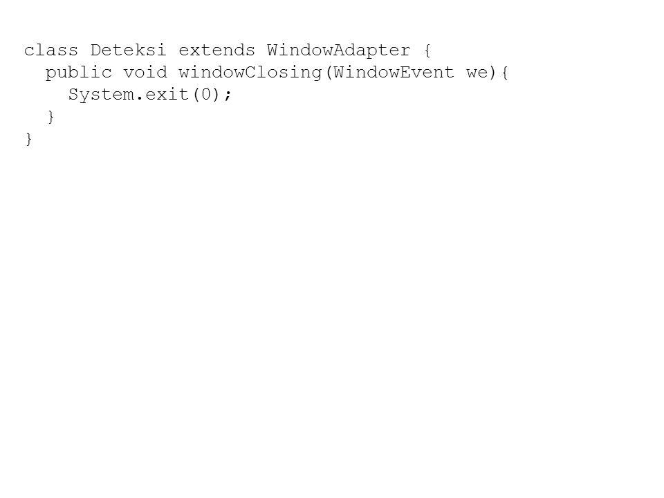 Sekilas tentang applet Applet adalah aplikasi Java yang dapat dijalankan pada halaman web Tujuan dibuatnya applet adalah untuk menutupi kekurangan dari web statis Applet membutuhkan sebuah halaman web untuk dapat ditampilkan pada web browser Applet ditampilkan dengan memanfaatkan tag yang disediakan oleh web browser