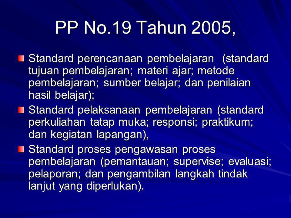 PP No.19 Tahun 2005, Standard perencanaan pembelajaran (standard tujuan pembelajaran; materi ajar; metode pembelajaran; sumber belajar; dan penilaian hasil belajar); Standard pelaksanaan pembelajaran (standard perkuliahan tatap muka; responsi; praktikum; dan kegiatan lapangan), Standard proses pengawasan proses pembelajaran (pemantauan; supervise; evaluasi; pelaporan; dan pengambilan langkah tindak lanjut yang diperlukan).