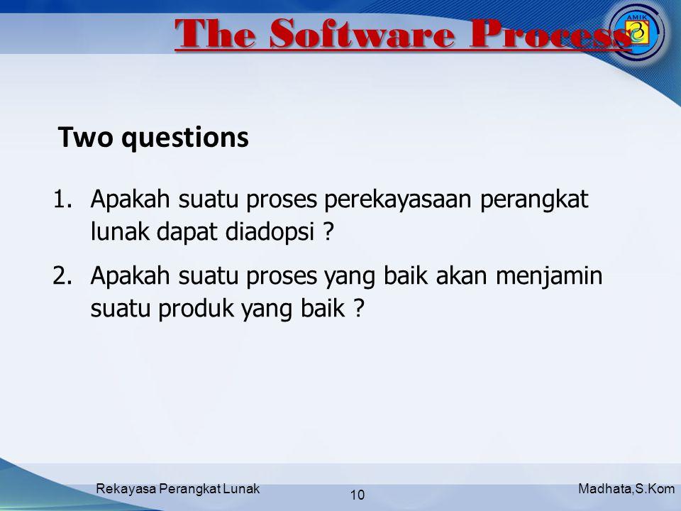 Madhata,S.KomRekayasa Perangkat Lunak 10 1.Apakah suatu proses perekayasaan perangkat lunak dapat diadopsi .
