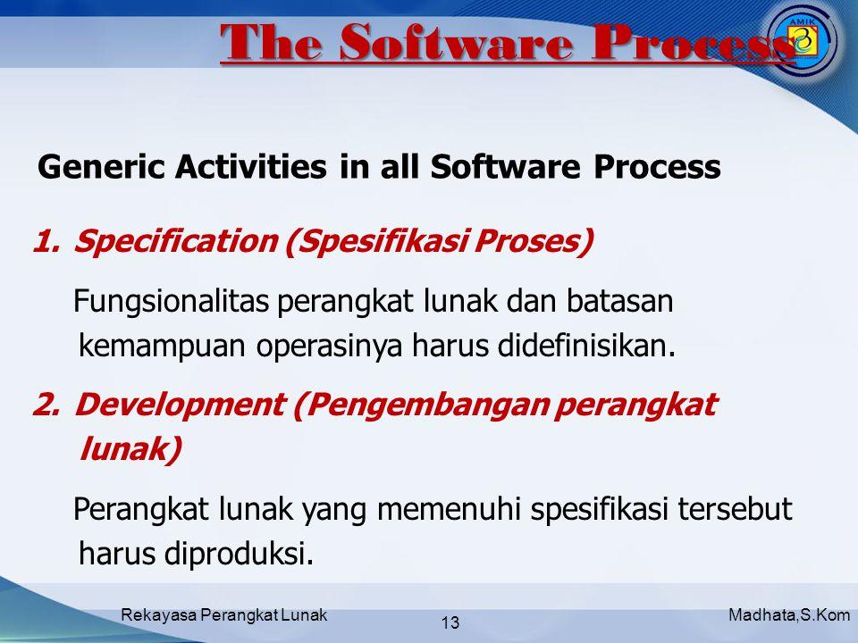 Madhata,S.KomRekayasa Perangkat Lunak 13 1.Specification (Spesifikasi Proses) Fungsionalitas perangkat lunak dan batasan kemampuan operasinya harus didefinisikan.