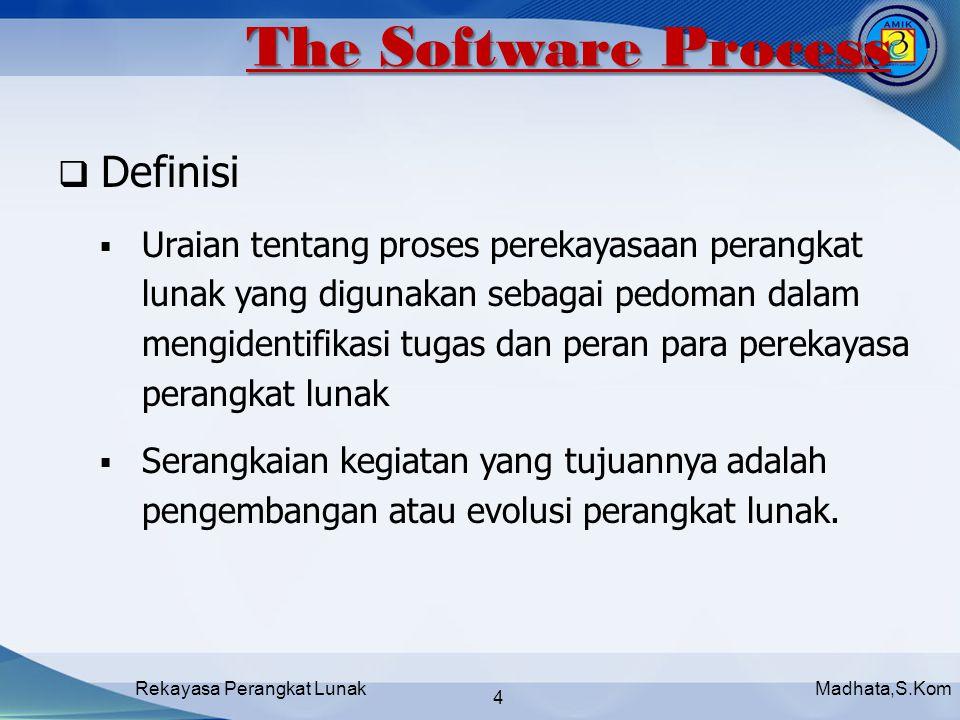 Madhata,S.KomRekayasa Perangkat Lunak 4  Definisi  Uraian tentang proses perekayasaan perangkat lunak yang digunakan sebagai pedoman dalam mengidentifikasi tugas dan peran para perekayasa perangkat lunak  Serangkaian kegiatan yang tujuannya adalah pengembangan atau evolusi perangkat lunak.
