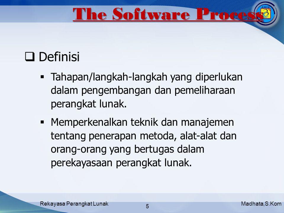 Madhata,S.KomRekayasa Perangkat Lunak 5  Definisi  Tahapan/langkah-langkah yang diperlukan dalam pengembangan dan pemeliharaan perangkat lunak.