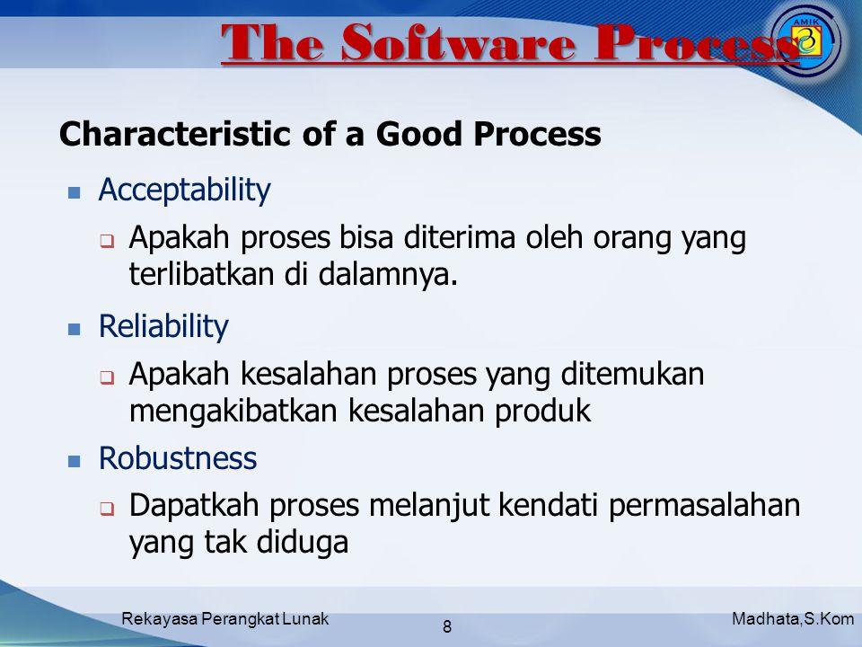 Madhata,S.KomRekayasa Perangkat Lunak 8 Acceptability  Apakah proses bisa diterima oleh orang yang terlibatkan di dalamnya.