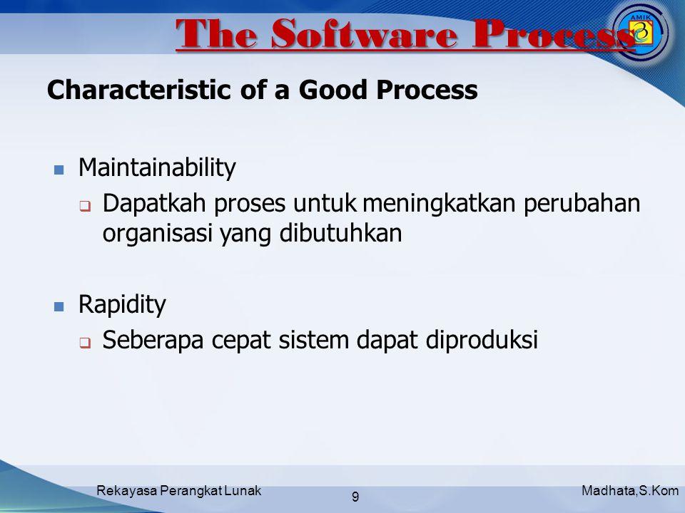 Madhata,S.KomRekayasa Perangkat Lunak 9 Characteristic of a Good Process Maintainability  Dapatkah proses untuk meningkatkan perubahan organisasi yang dibutuhkan Rapidity  Seberapa cepat sistem dapat diproduksi The Software Process