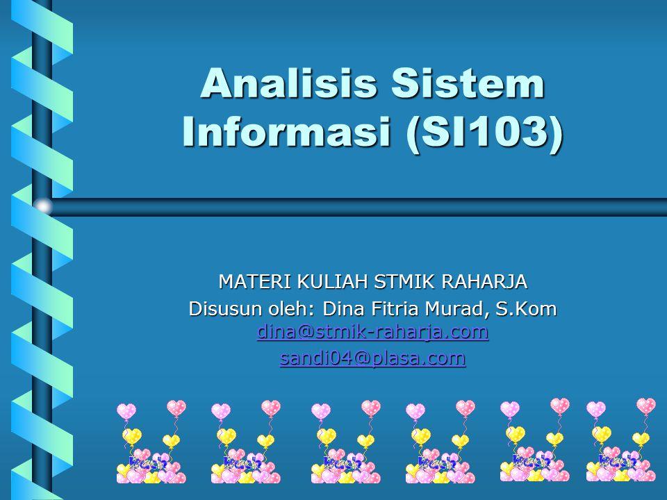 Analisis Sistem Informasi (SI103) MATERI KULIAH STMIK RAHARJA Disusun oleh: Dina Fitria Murad, S.Kom dina@stmik-raharja.com dina@stmik-raharja.com san
