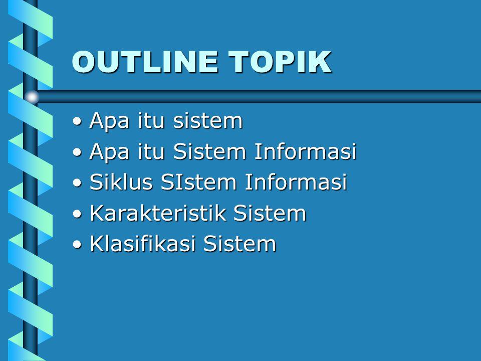 OUTLINE TOPIK Apa itu sistemApa itu sistem Apa itu Sistem InformasiApa itu Sistem Informasi Siklus SIstem InformasiSiklus SIstem Informasi Karakterist