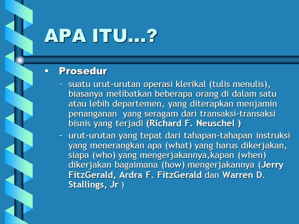 APA ITU...? Prosedur Prosedur –suatu urut-urutan operasi klerikal (tulis menulis), biasanya melibatkan beberapa orang di dalam satu atau lebih departe