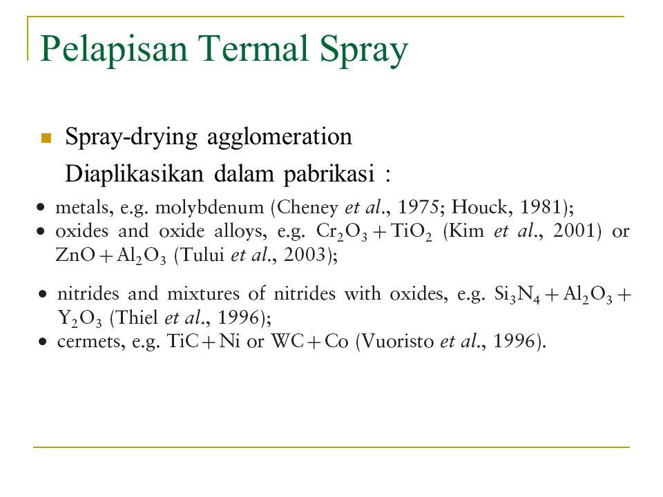 Pelapisan Termal Spray Spray-drying agglomeration Diaplikasikan dalam pabrikasi :