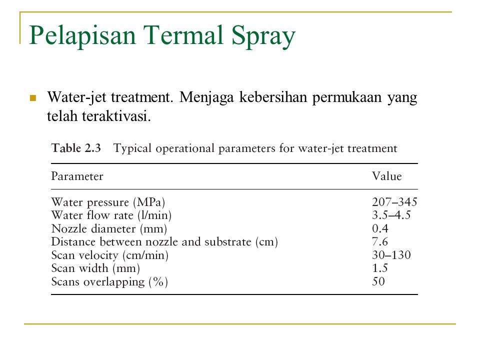 Pelapisan Termal Spray Water-jet treatment. Menjaga kebersihan permukaan yang telah teraktivasi.