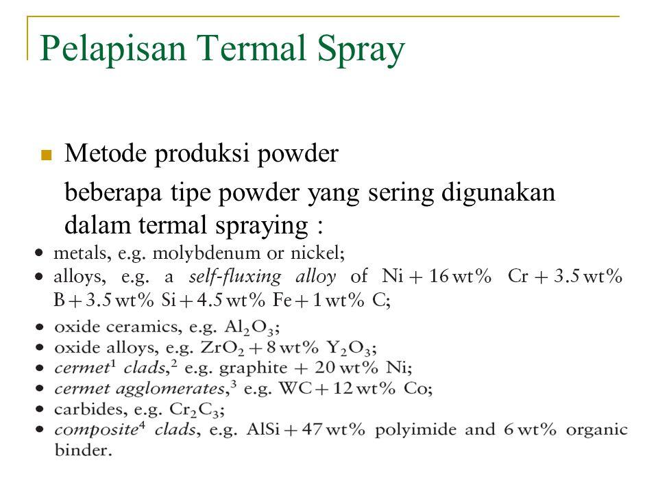 Pelapisan Termal Spray Metode produksi powder beberapa tipe powder yang sering digunakan dalam termal spraying :