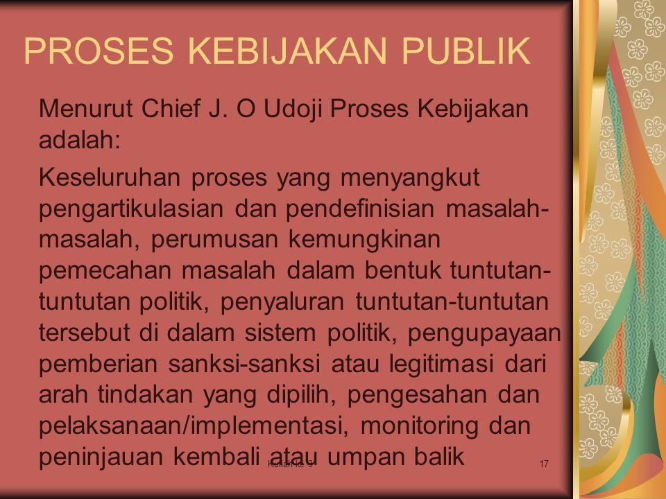 Kuliah ke 317 PROSES KEBIJAKAN PUBLIK Menurut Chief J. O Udoji Proses Kebijakan adalah: Keseluruhan proses yang menyangkut pengartikulasian dan pendef