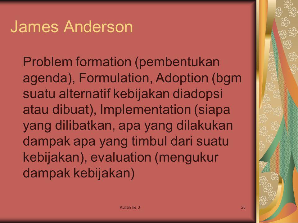 Kuliah ke 320 Problem formation (pembentukan agenda), Formulation, Adoption (bgm suatu alternatif kebijakan diadopsi atau dibuat), Implementation (sia