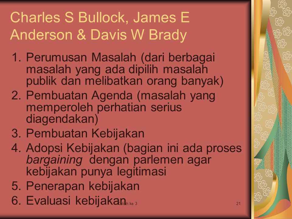 Kuliah ke 321 Charles S Bullock, James E Anderson & Davis W Brady 1.Perumusan Masalah (dari berbagai masalah yang ada dipilih masalah publik dan melib