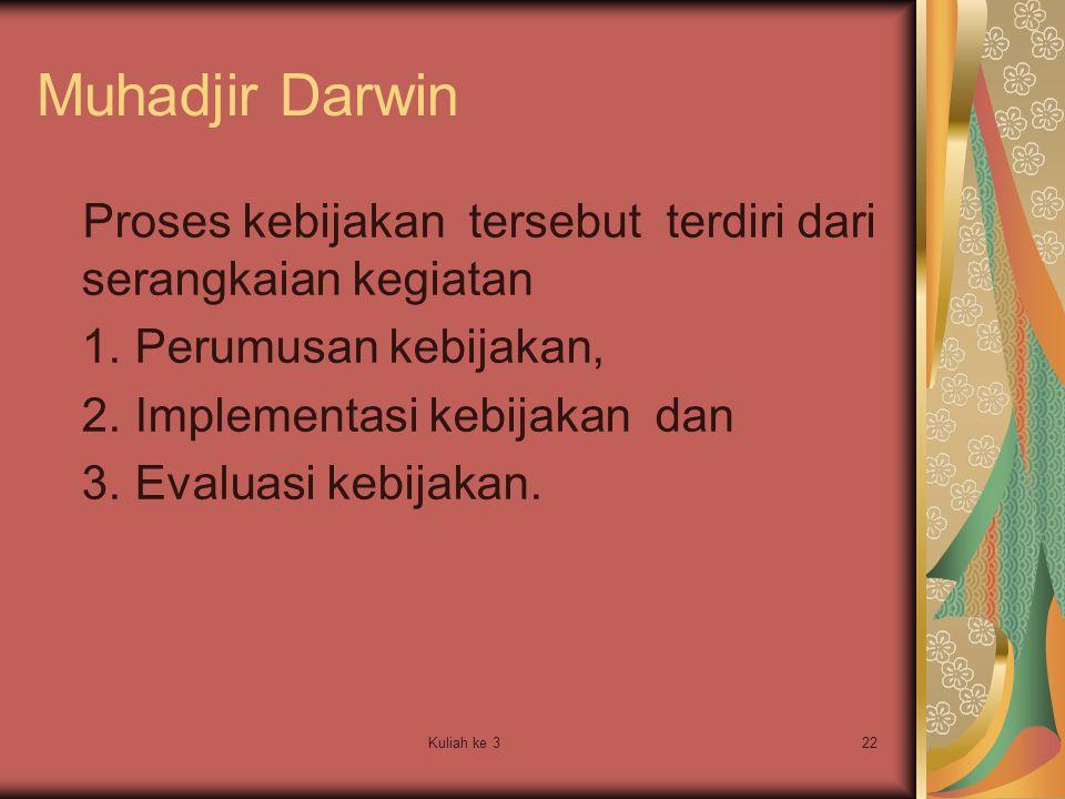 Kuliah ke 322 Muhadjir Darwin Proses kebijakan tersebut terdiri dari serangkaian kegiatan 1. Perumusan kebijakan, 2. Implementasi kebijakan dan 3. Eva