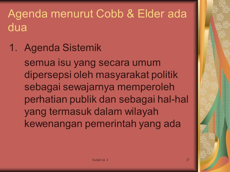 Kuliah ke 337 Agenda menurut Cobb & Elder ada dua 1.Agenda Sistemik semua isu yang secara umum dipersepsi oleh masyarakat politik sebagai sewajarnya m